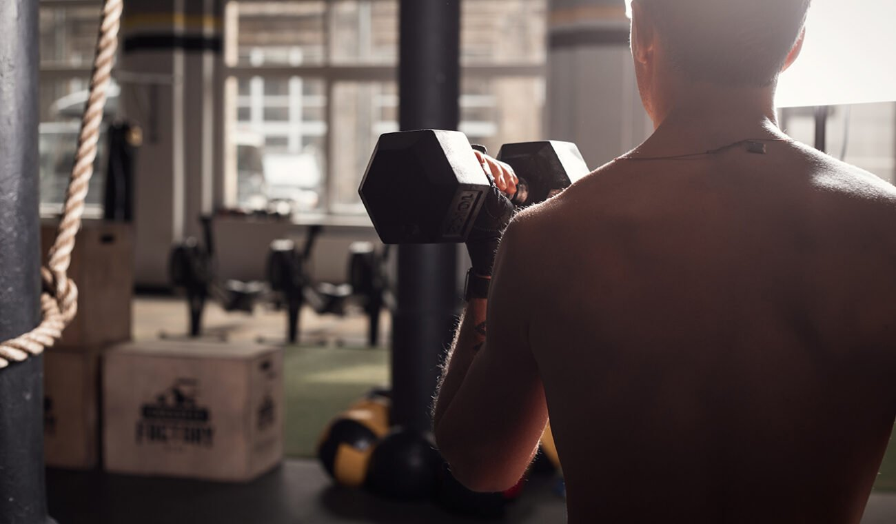 Fit man in gym working out